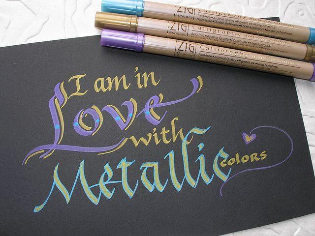 Marķieri kaligrāfijai: Metallic 6 krāsu komplekts.