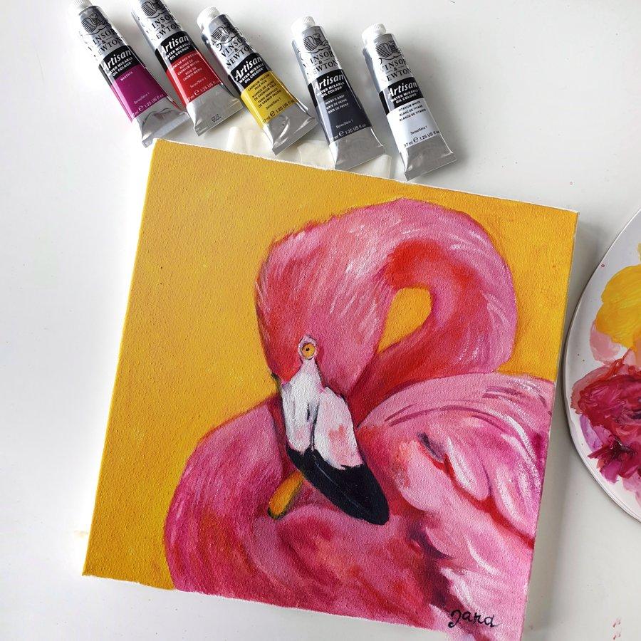 """Video-pamācība """"Kā gleznot flamingo eļļas tehnikā"""" kopā ar Janu Nesteroviču"""