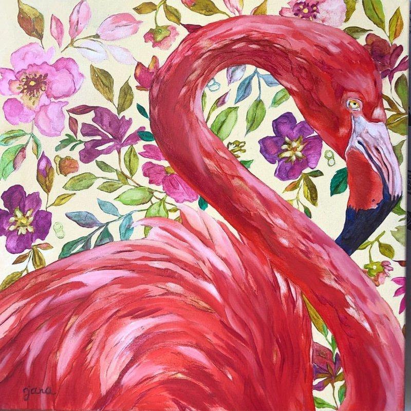 """25.09. SESTDIEN 11.00-14.00 """"Flamingo un citi dzīvnieki"""" /eļļa"""