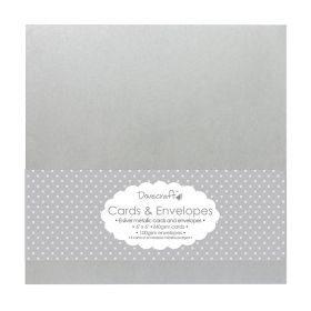 Kartiņu sagataves un aploksnes / Silver metalic / 15 x 15 cm / 8 gab.