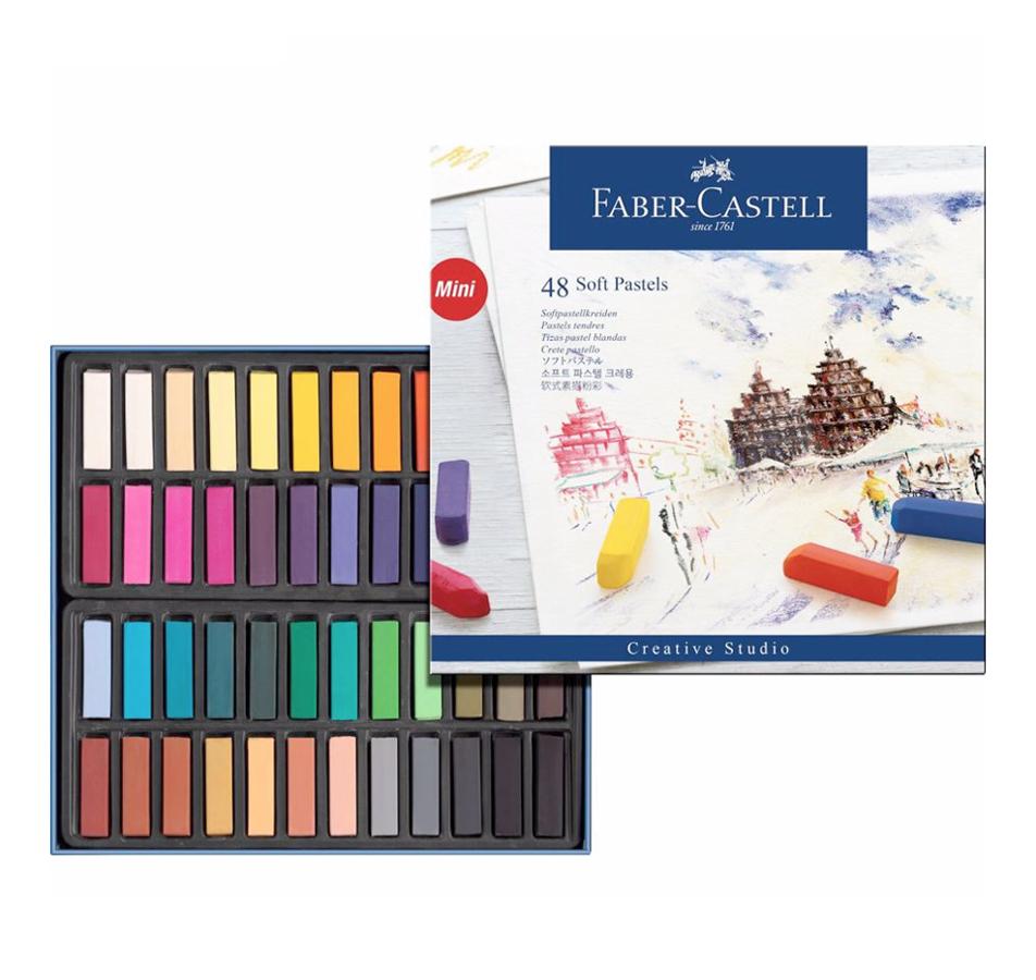 Pasteļkrītiņi Faber Castell: 48 krāsas 1/2 STICK (pusītes)