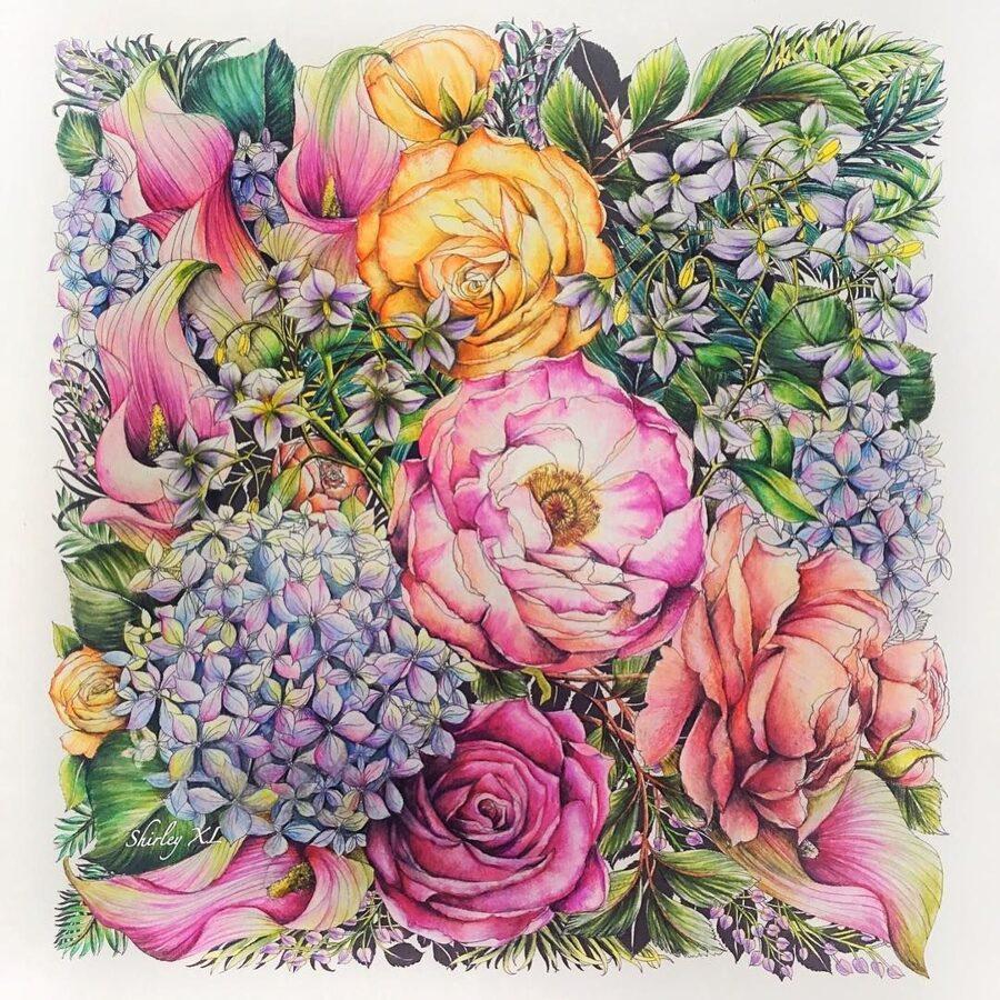 Krāsojana grāmata: Floribunda: A Flower Coloring Book