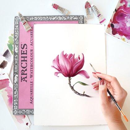 """Video-pamācība """"Kā gleznot magnoliju akvareļu tehnikā"""""""