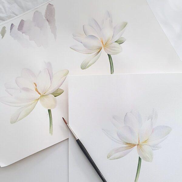 """06.06. """"Baltie ziedi/Ūdensrozes ar J.Grīnbergu"""" /akvarelis/ 10:00-13.00"""