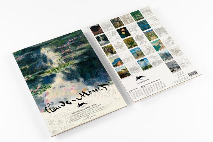 Claude Monet krāsojamā grāmata ar akvareļu papīru / 25 x 34 cm