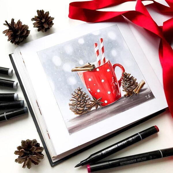 """28.11. Radošais pasākums ĢIMENEI līdz 6 pers. """"Ziemassvētku kartiņas"""" ar spirta marķieriem / SESTDIEN 14:00-16:00"""