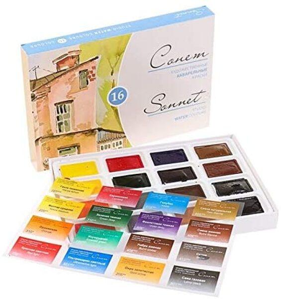 Sonnet akvareļu krāsas kuvetēs, 16 krāsas