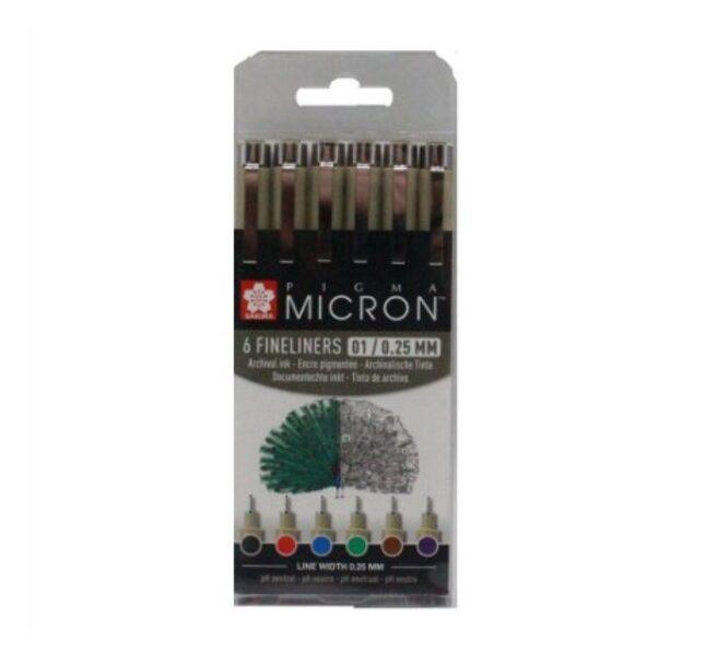 SAKURA Pigma Micron 6 rapidogrāfu komplekts/ 6 krāsas / 01
