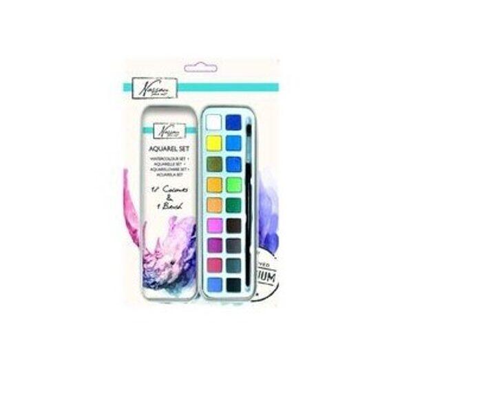 Akvareļkrāsu komplekts Nassan metāla kastītē / 18 krāsas + otiņa