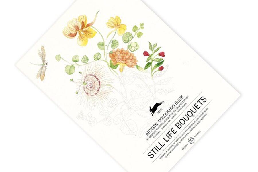 Still Life Bouquets krāsojamā grāmata ar akvareļu papīru / 25 x 34 cm