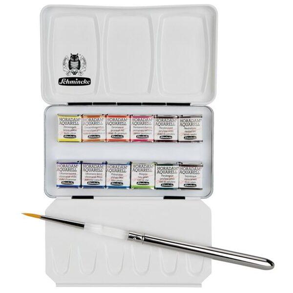 Schmincke HORADAM® Profesionālās akvareļu krāsas: 12 krāsas x 1/2 + ota