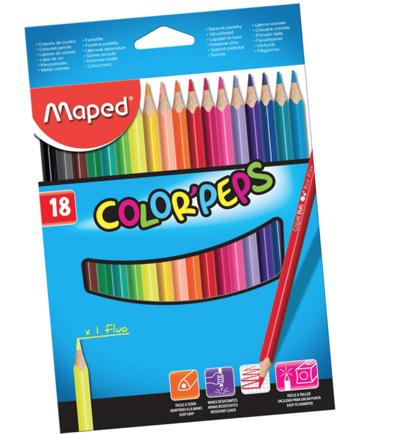 Krāsainie zīmuļi Maped Color'Peps 18 gab