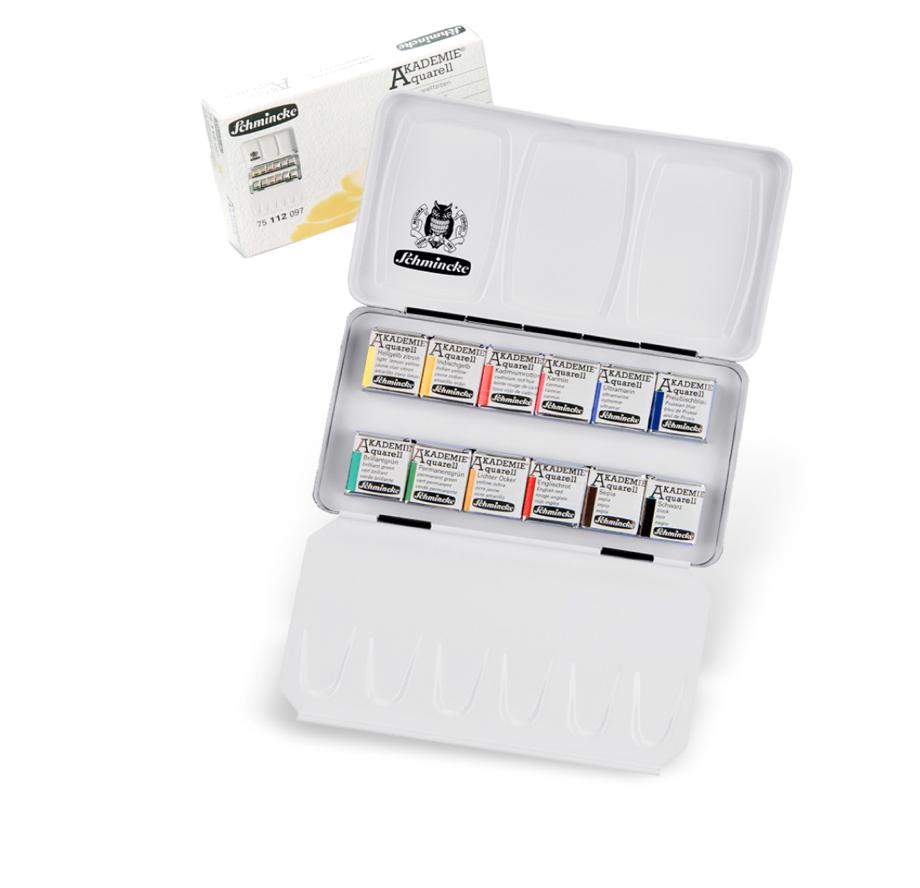 Akvareļu krāsu komplekts Schmincke Akademie metāla kastē