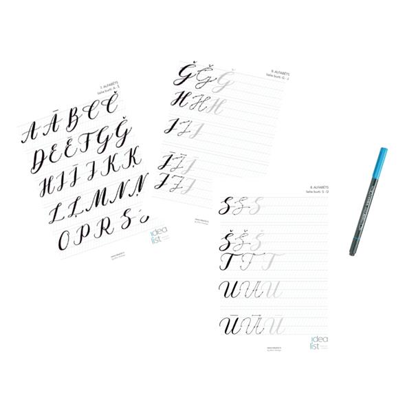 Brush Lettering Darba lapas .PDF formāts /latviešu alfabēts; klasiskais stils LIELIE BURTI
