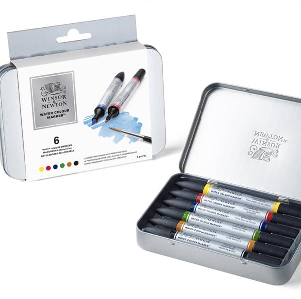 Akvareļu 6 marķieru Winsor&Newton komplekts metāla kastē