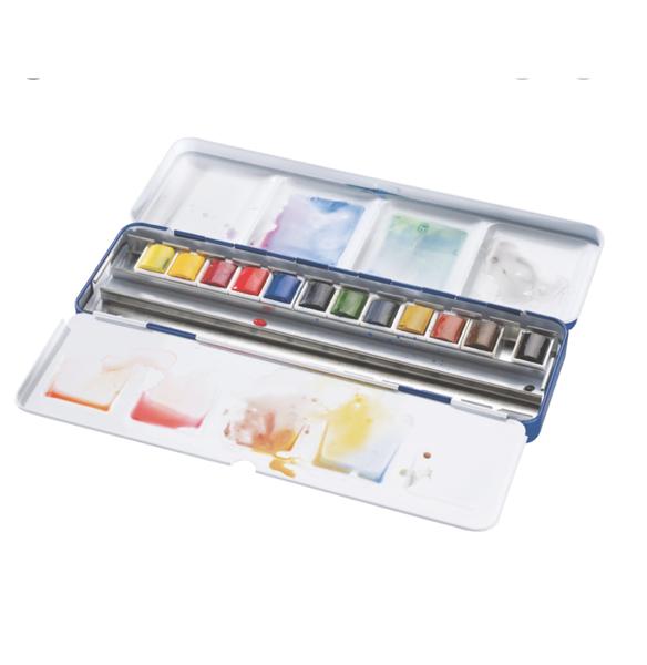 Winsor&Newton Cotman 1/2 akvareļkrāsu kubiņu 12 krāsu komplekts metāla kastē