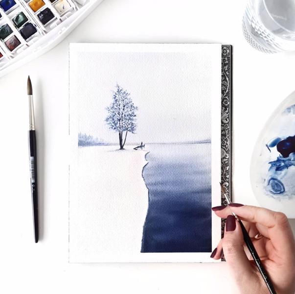 """Video-pamācība """"Ziemas ainava ar vienu krāsu"""" / akvarelis"""