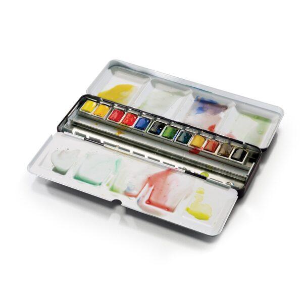 PROFESSIONAL Winsor&Newton krāsu komplekts metāla kastē (12 x 1/2 akvareļkrāsu kubiņi)