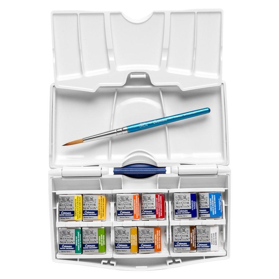 Winsor&Newton Pocket plus box akvareļu krāsu komplekts 12 x 1/2
